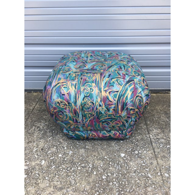 Postmodern 1980's Abstract Karl Springer Style Pouf Ottoman For Sale - Image 3 of 5