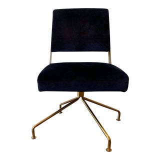 Brass Office Chair With Blue Velvet For Sale