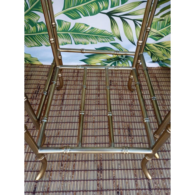 Traditional Palm Beach Regency Gold Faux Bamboo Square Set of 4 Glass and Metal Nesting Tables For Sale - Image 3 of 10