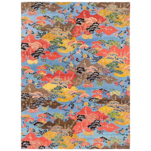 Vibrant Modern Floral Area Rug, 9'x12' For Sale