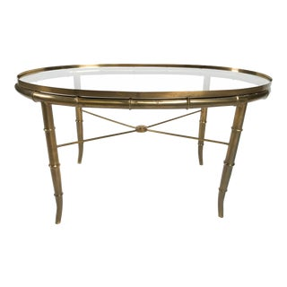Brass Faux Bamboo Accent Table Attr. To Mastercraft For Sale