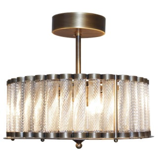 Italian Antique Bronze Finish Crystal Murano Glass Flush Mount / Drum Chandelier For Sale