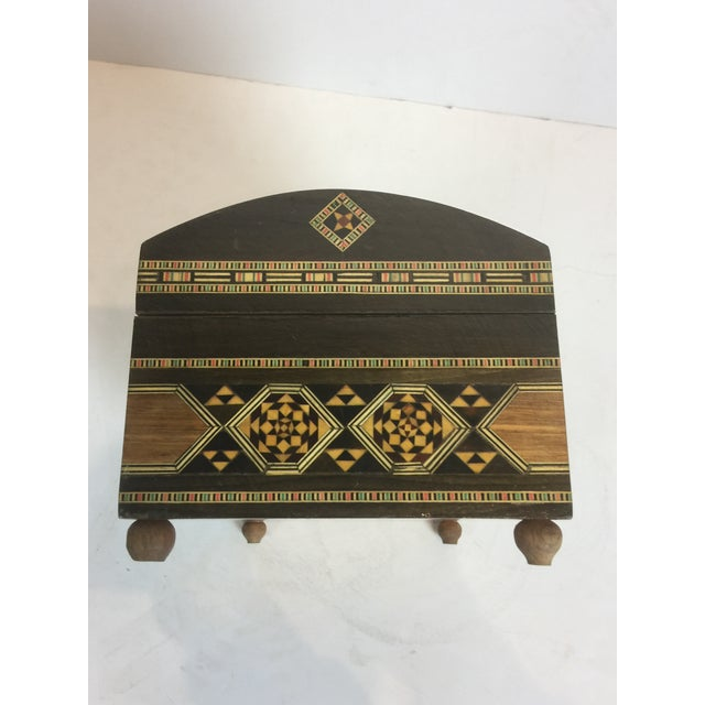Handcrafted Inlaid Wood Moorish Jewelry Box For Sale In Los Angeles - Image 6 of 13