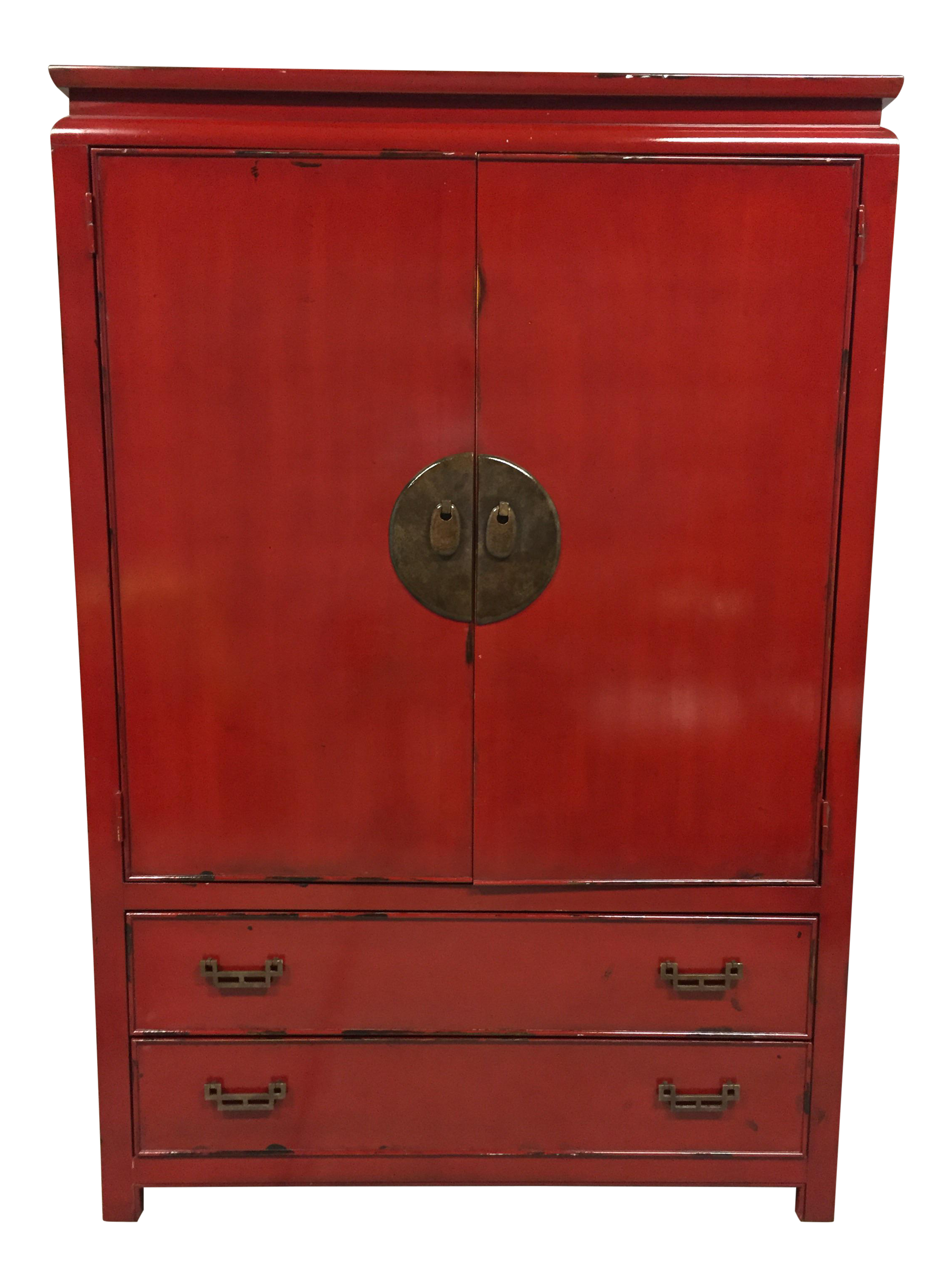 Red Lacquered Distressed Armoire