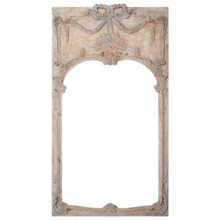 French Louis XV Style Painted Mirror With Flower Basket $3,400 For Sale