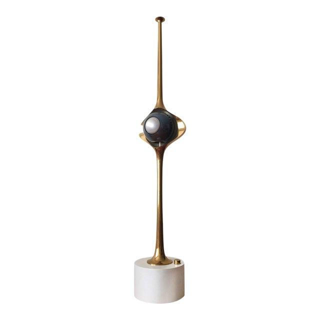 Angelo Lelli Cobra Lamp for Arredoluce, in Brass, 1964 For Sale
