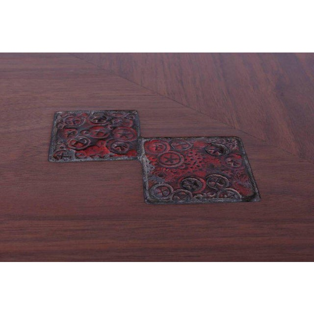 Ceramic Edward Wormley for Dunbar Game Table with Natzler Tiles For Sale - Image 7 of 11