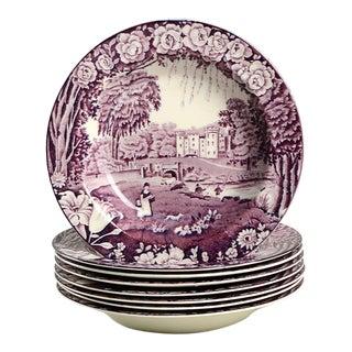 Wood & Sons Castles Purple Rim Bowl - Set of 8 For Sale