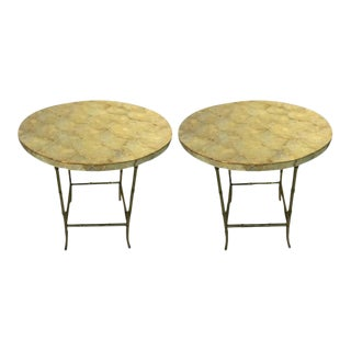 Maison Bagues Style Capiz Shell End Tables With Brass Bamboo Legs For Sale