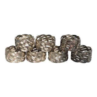Metal Basketweave Napkin Rings - set of 7