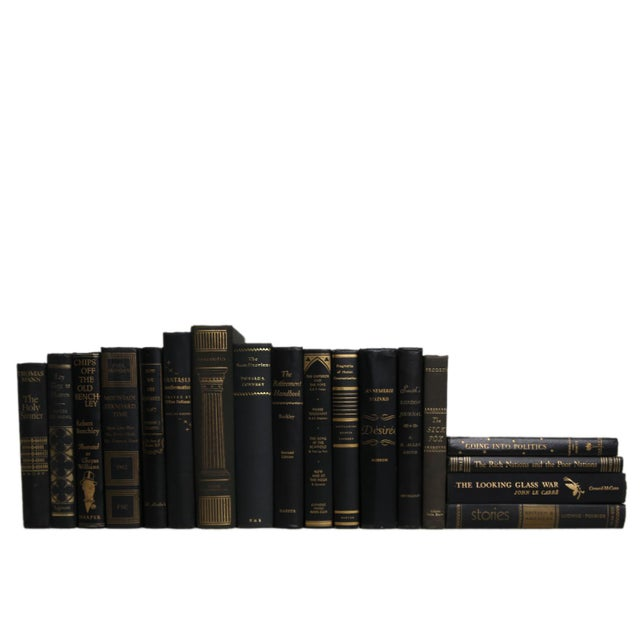Mid-Century Modern Midcentury Mix: Gilt on Black Book Set, S/18 For Sale - Image 3 of 3