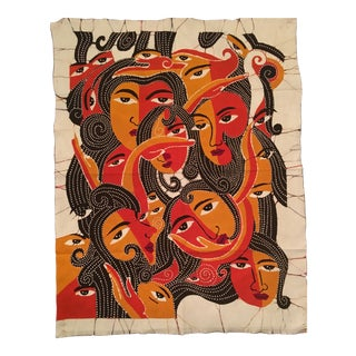 Orange and Red Batik of Collage of Women Faces Printed on Both Sides on Cotton For Sale