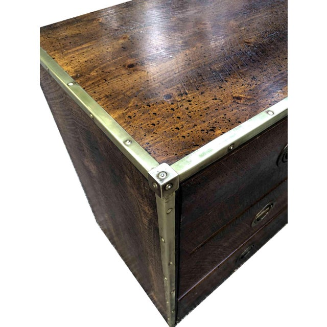 Metal Mid Century Bassett Furniture Nautical Campaign Chest With Brass Trim For Sale - Image 7 of 10