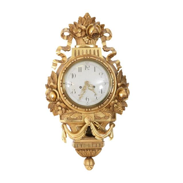 Antique Gustavian Swedish Gold Birch Wall Clock For Sale