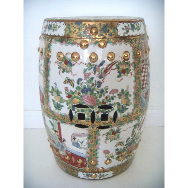 Asian Chinese Rose Medallion Garden Seat/Drum Stool, Gilt Top & Butterflies For Sale - Image 3 of 9