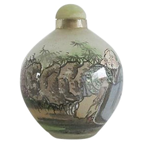 Handpainted Chinese Glass Perfume Bottle - Image 1 of 4