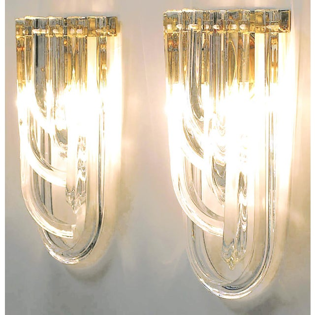 1970s Pair of Venini Bent Crystal and Brass Sconces For Sale - Image 5 of 9