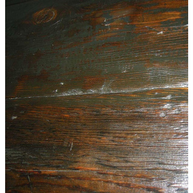 Industrial Custom Industrial Style Reclaimed Wood Square Dining Table With Iron Base For Sale - Image 3 of 4