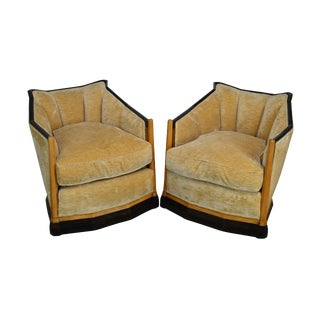 French Art Deco Style Vintage Pair Club Chairs (After Jaques Emile Ruhlmann) For Sale