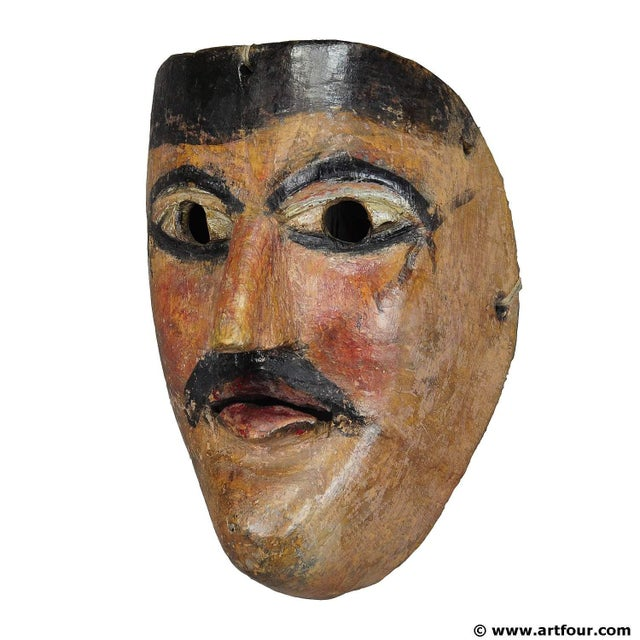 A Nice Carved And Painted Tyrolian Carnival Fasnet Mask For Sale - Image 4 of 4