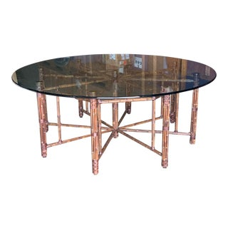 McGuire Bamboo 9 Leg Rattan Round Dining Table For Sale