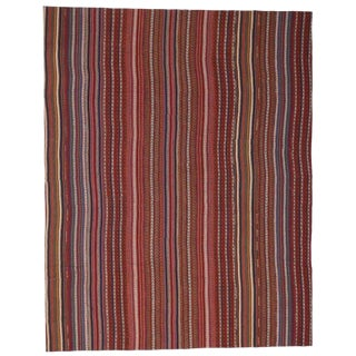 Modern Style Vintage Turkish Jajim Kilim Flat-Weave Rug For Sale