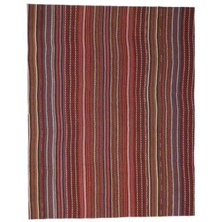 Modern Style Vintage Turkish Jajim Kilim Flat-Weave Rug