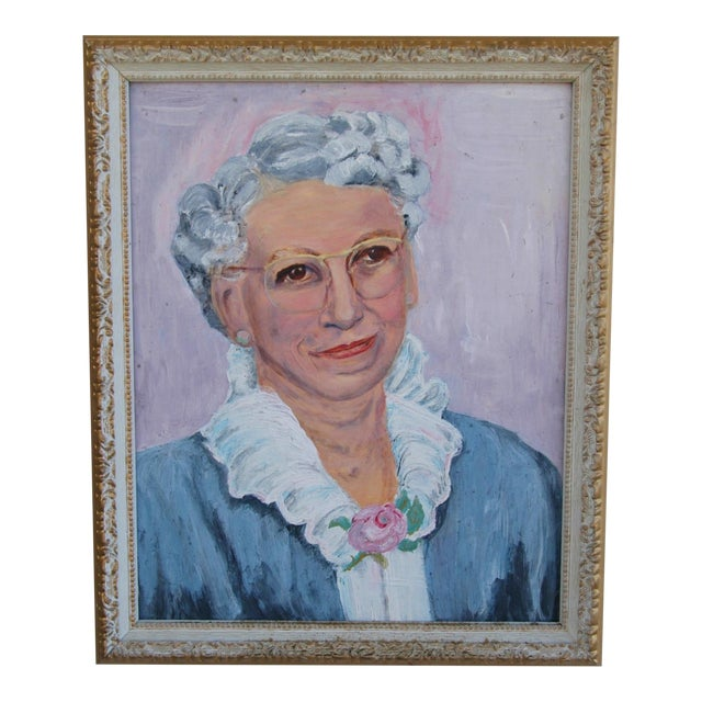 Mid-Century Oil Painting Portrait - Image 1 of 7