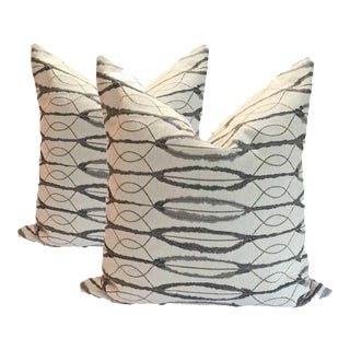 Ivory Chenille Comtemporary Pillows - A Pair For Sale