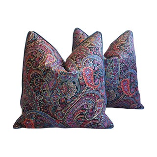 "Custom Tailored English Paisley & Velvet Feather/Down Pillows 25"" Square - Pair"