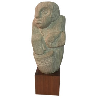 Modernist 1950s Limestone Shona Musician Sculpture For Sale