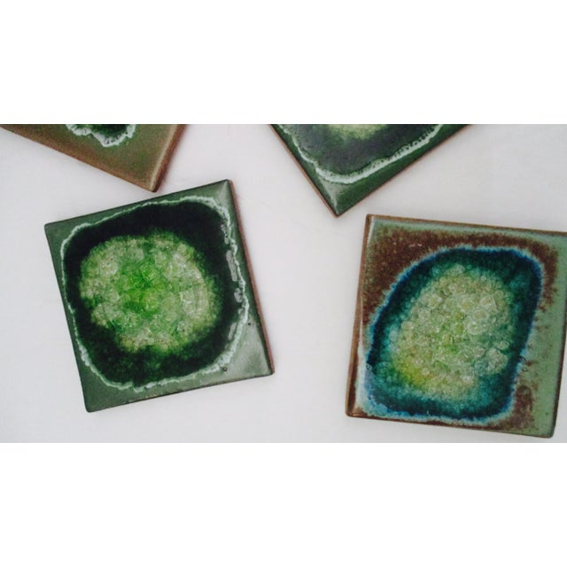 Turquoise Geode Crackle Glass Coasters - Set of 4 For Sale - Image 8 of 10