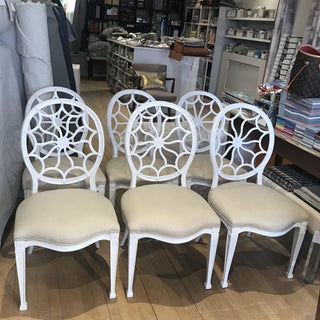 Set of Six Hollywood Regency White Compatible Dining Chairs Preview