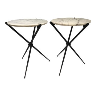 Pair Mid Century Iron Spider Leg Tables With Carrera Marble For Sale