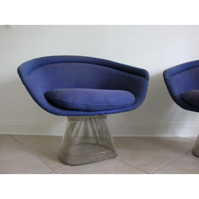 Hollywood Regency Warren Platner for Knoll Blue Upholstered Platner Lounge Chairs- a Pair For Sale - Image 3 of 10