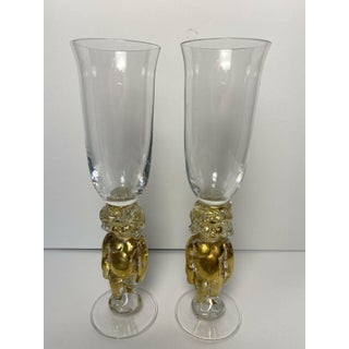 Vintage Tony Davlin Art Glass Nude Cherub Champagne Flutes Signed 1995 Gold - a Pair Preview