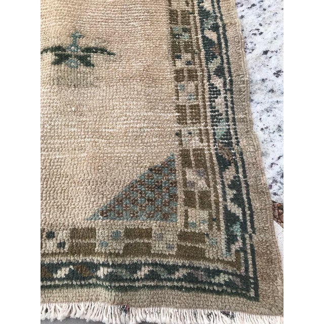 """Ivory Hand Made Vintage Turkish Area Rug- 3'3""""x4'2' For Sale - Image 8 of 10"""
