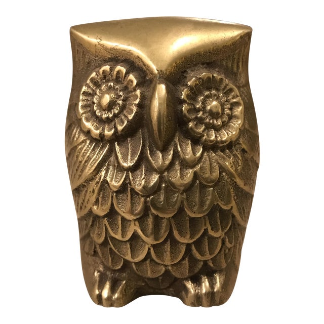 Vintage Brass Owl Paperweight For Sale