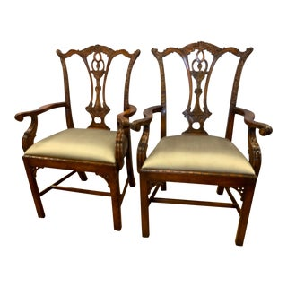 1990s Vintage Theodore Alexander Carved Chippendale Armchairs- A Pair For Sale