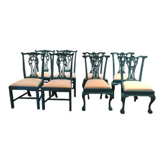 Lacquered Carved Wood Dining Chairs -Set of 8 For Sale