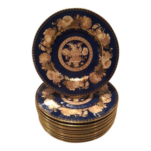 Spode Blue & Gold Floral Service Plates - Set of 12 For Sale
