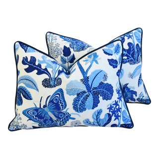 """Blue & White Schumacher Exotic Butterfly Feather/Down Pillows 24"""" X 18"""" - a Pair For Sale"""