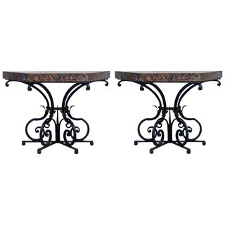 19th Century French Wrought Iron Trapezoid Marble Slab Console Tables - a Pair