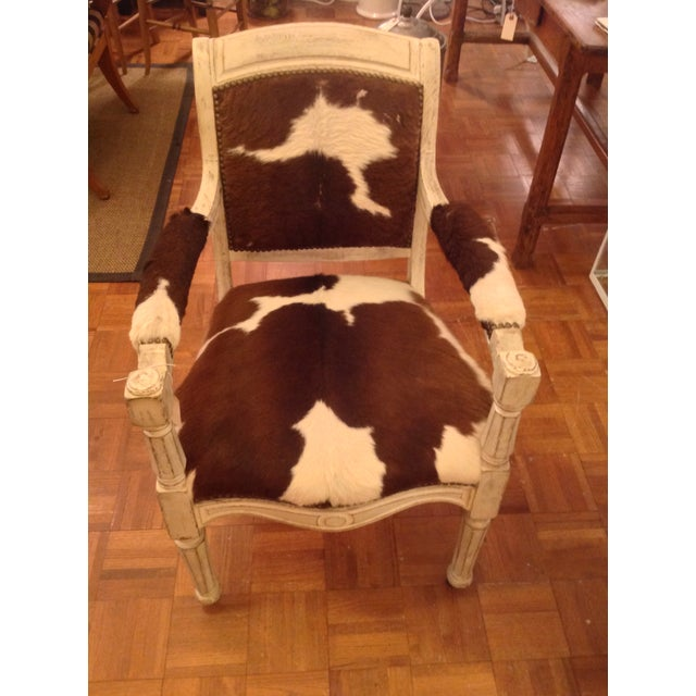 Antique Cowhide Chair with Nailhead Accents - Image 2 of 6