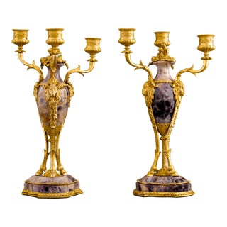 Blue John Triple Candelabra For Sale
