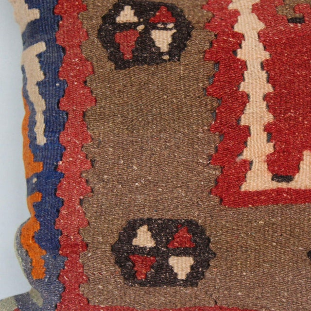 Tribal 16-Inch Square Turkish Vintage Pillow Cover For Sale - Image 3 of 9