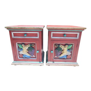 Whimsical Hand-Carved Nightstands - A Pair