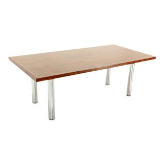 Rosewood & Chrome Conference Dining Table For Sale