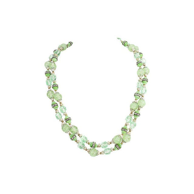 White Green Art Glass & Crystal Necklace, 1950s For Sale - Image 8 of 8