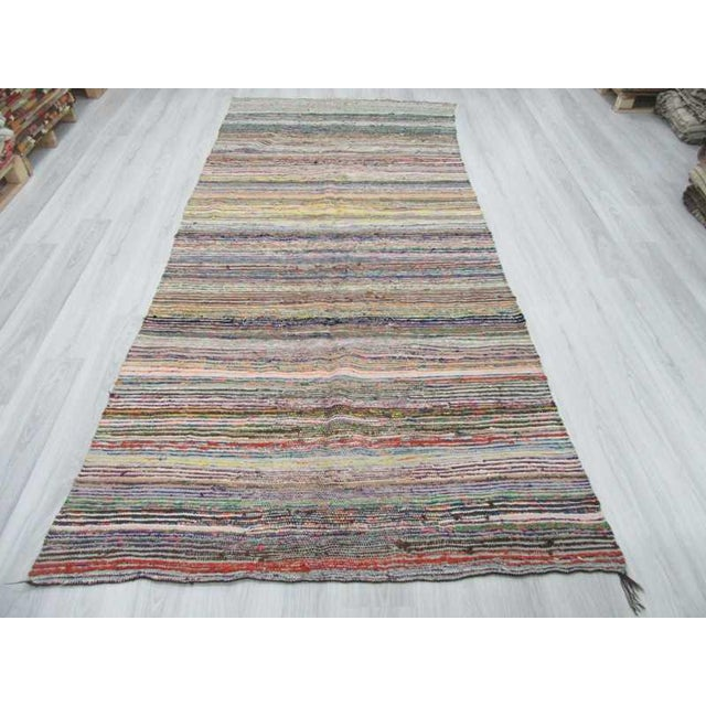 Vintage rag rug from Afyon region of Turkey. Approximately 35-45 years old. In very good condition.